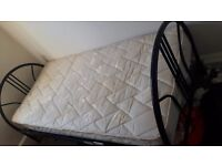 Metal single bed frame and perfect condition mattress
