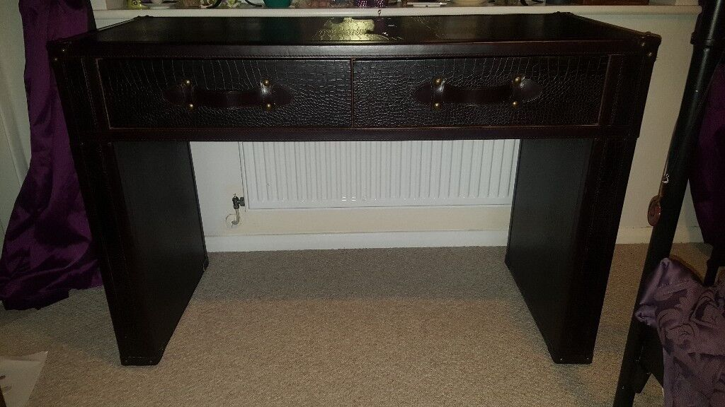 Leather dressing table / desk with two draws