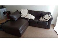 Brown faux leather corner sofa