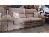 Beige 3 seater and 2 seater fabric cushion suite