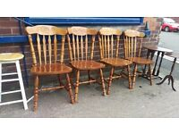 Set of 4 pine dining chairs with patterned tops