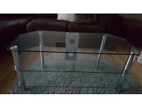 Glass tv stand and glass coffee table