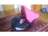Basic black and pink car seat