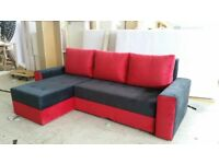 "New Corner Sofa Bed With Storage ""KORONA"" RED-BLACK"