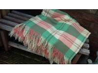 Green, pink and cream check Wool Blanket