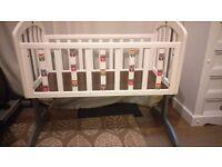 Beautifully Upcycled swinging baby crib Owl Theme