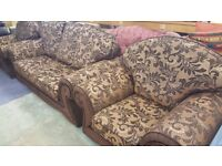 Three Seater & 2 X Armchairs Fabric Sofa in Excellent Condition