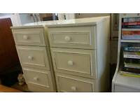 Bedside Cabinets - 2 Quality Cream 3 Drawer Bedside Cabinets