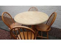 Ikea wooden round table and 4 chairs