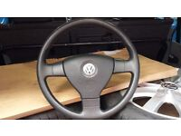 VW CADDY STEERING WHEEL COMPLETE WITH AIR BAG