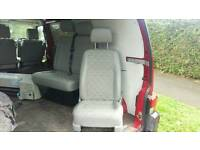 VW T5 Front Seats, Drivers comfort and double passenger with storage under.