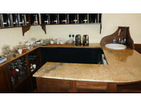 Marble Top counter & shelves