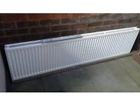 White double radiator with deflector, L1800 x H450 x D80mm