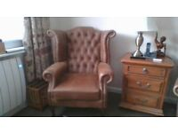 Two Vintage Wing Leather Chair