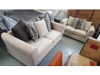 BRAND NEW CREAM FABRIC LARGE 3 SEATER SOFA & 2 SEATER SOFAS WITH SCATTER BACK CUSHIONS *CAN DELIVER*
