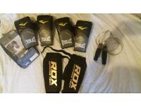 2 pairs everlast pro style elite training gloves 8oz completely new!!+nike skipping rope+RDX kickbox