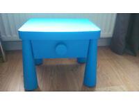 Blue Ikea bedside table