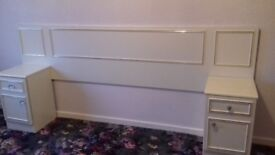 Double headboard with built in bedside cabinets in cream
