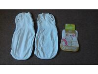 2 'GROSNUG' BABY SLEEPING OR SWADDLING BAGS, NEWBORN SIZE, LIGHT WEIGHT (FOR SUMMER)