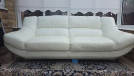 Leather sofa in excellent condition for sale - colour white