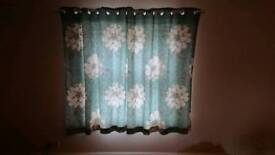 Teal floral curtains