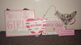 Girl's bedroom signs