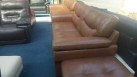 Real Leather Antique brown 3+3 seater sofa + stool