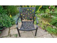 Cast Aluminium garden/patio chair with arms .Black/bronze