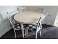 Laura Ashley dining room Table with 4 chairs in white