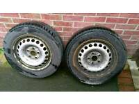 Vw transporter t5 steel wheels with part worn tyres fitted