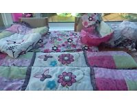 Beautiful Cot bedding set includes a full set of cot bumpers, quilt, and more