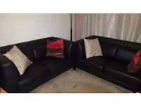2 x 2 Seater Black Italian Leather Sofas
