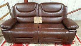 Summer Sale Brand New Premium Recliner Pablo Faux Leather Three Seat/twin cushion Sofa £260