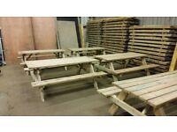 garden table with folding seats 1700 x 1510 x 680