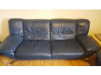 Blue Leather 2 Seater + 1 Seater Sofas