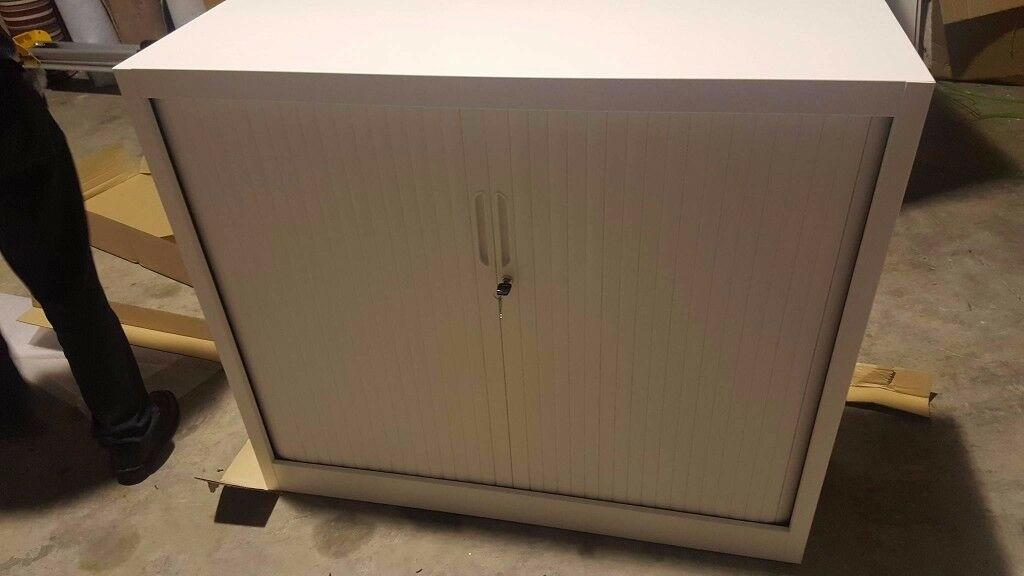 NEW half size white tambour units for office storage and lockable doors