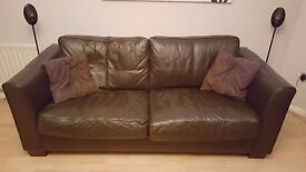 Brown Leather Sofa For Sale - Collection From Horley in Surrey