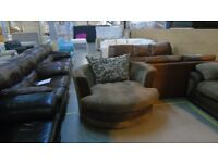 PRE OWNED Swivel Chair in Brown Fabric