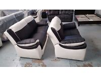 2x 2 Seater ScS Leo Black & White Leather Sofas **Can Deliver**