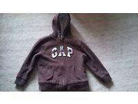 Brown GAP, zip front, lined hoodie. Age 8-9