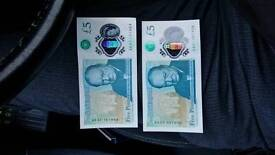 New £5 five pound bank notes