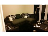 Large left hand corner sofa with single seater and pouffe