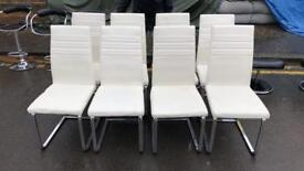White Leather & Chrome Chairs
