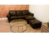 Free brown corner sofa and footstool (damaged)