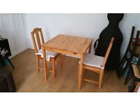 Small Wooden Dining table & Two Chairs (Ikea)