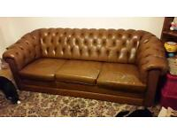 Large Leather vintage Chesterfield suite with 2 x matching armchairs