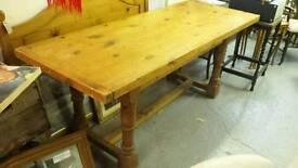 Vintage distressed pine refectory table