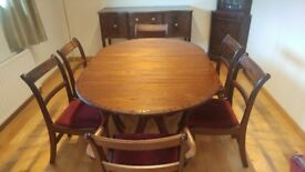 Dining Furniture - Hand crafted - Table, 6 Chairs, sideboard, cabinet