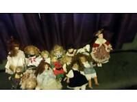 Porcelain doll's most with tags on like new