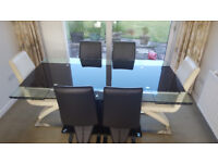 ITALIAN GLASS DINING TABLE AND 6 CHAIRS.....WILL SEPARATE IF REQUIRED.
